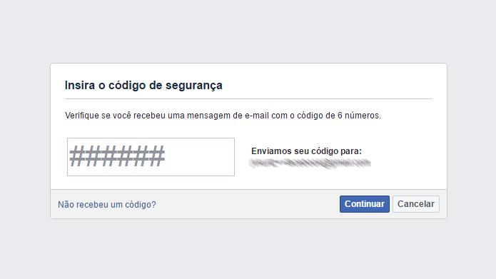 Código do Facebook permite redefinir senha de contas (Foto: Reprodução/Facebook)