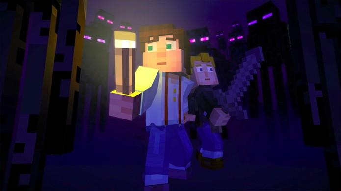 O título do Episódio 3: O Último Lugar a se Procurar de Minecraft: Story Mode refere-se ao The End, dimensão dos Enderman na qual Soren resolveu se isolar (Foto: Reprodução/Dual Shockers)