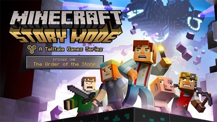 Em Minecraft: Story Mode todas as esperanças são colocadas em reunir A Ordem da Pedra desde o Episódio 1 (Foto: Reprodução/YouTube)