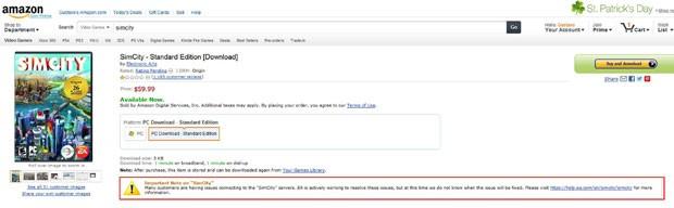 Após suspensão da venda do game, Amazon publicou aviso (em destaque na imagem) sobre os problemas que 'SimCity' enfrenta (Foto: Divulgação)