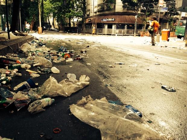 Lixo na Zona Sul (Foto: José Raphael Berrêdo/G1)