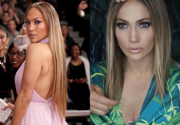 Jennifer Lopez com os longos cabelos e com os fios mais curtos (Foto: Getty Images e Reprodução)