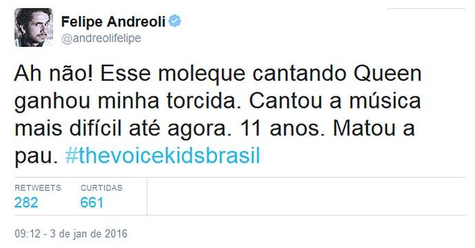 O jornalista Felipe Andreoli também curtiu a apresentação do João Pedro Borges (Foto: Reprodução/Internet)