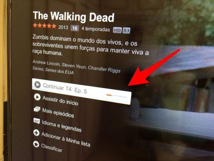 Veja em qual parte do episódio você parou e clique no Play (Foto: Reprodução/Lucas Mendes)