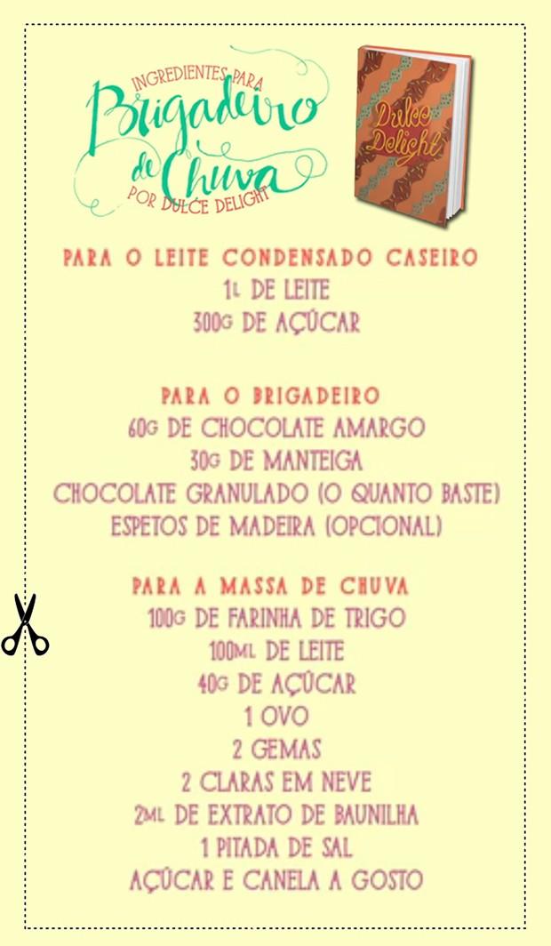 Dulce Delight lista os ingredientes do Brigadeiro de Chuva (Foto: Arte: Gabi Freitas)