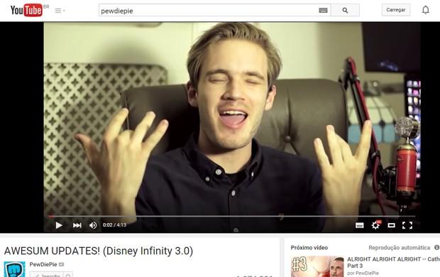 PewDiePie, youtuber de games, faturou quase US$ 7 milhões em 2014 com seu canal (Foto: Reprodução/YouTube)