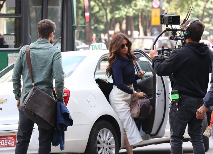 Giovanna Antonelli e Rafael Cardoso gravam cenas de Sol Nascente em São Paulo (Foto: Carol Caminha / Gshow)