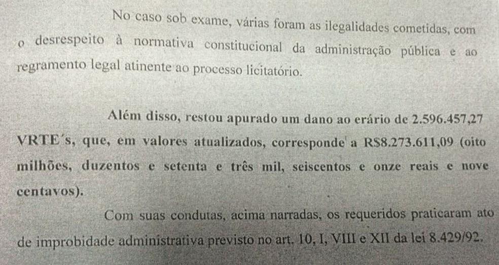 Detalhe da decisão da juíza que menciona o dano erário provocado (Foto: Reprodução)