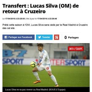 Lucas Silva, volante, Olimpique de Marselha (Foto: Reprodução / Internet)