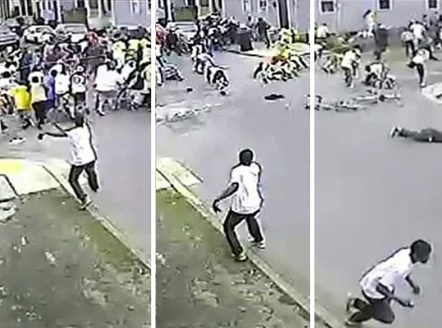 Imagens divulgadas pela polícia de Nova Orleans mostra homem atirando em multidão neste domingo (12) (Foto: AP)