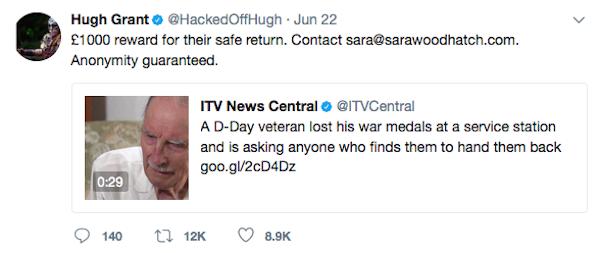 A oferta feita por Hugh Grant pelas quadro medalhas desaparecidas (Foto: Twitter)