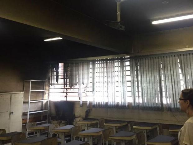 Salas de aula ficaram parcialmente queimadas em escola (Foto: Prefeitura de Sorocaba/Divulgação)