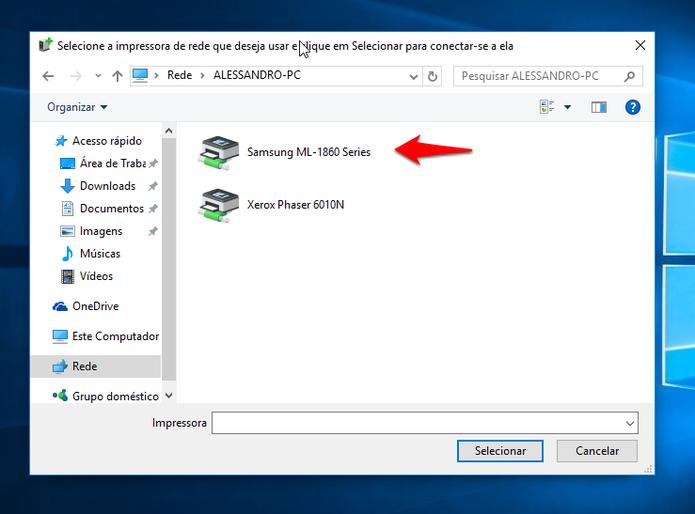 Será necessário colocar o nome de usuário e senha do computador onde a impressora foi instalada. (Foto: Reprodução/Alessandro Junior)