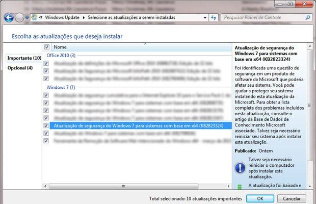 Atualização KB2823324 em lista do Windows Update no Painel de Controle. Se ela for desmarcada, também será instalada.  (Foto: Reprodução)