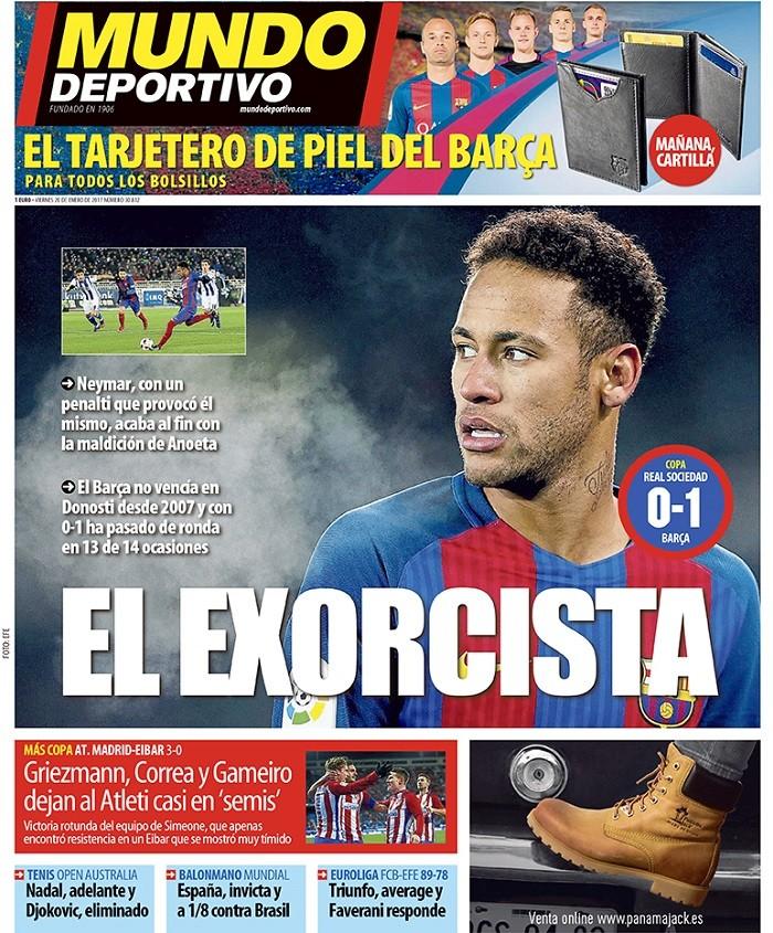 """BLOG: """"O Exorcista"""": Neymar estampa jornais da Catalunha com fim da maldição do Anoeta"""