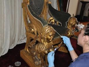 Trono de d. Pedro II é restaurado no Museu Imperial (Foto: Divulgação/Museu Imperial)