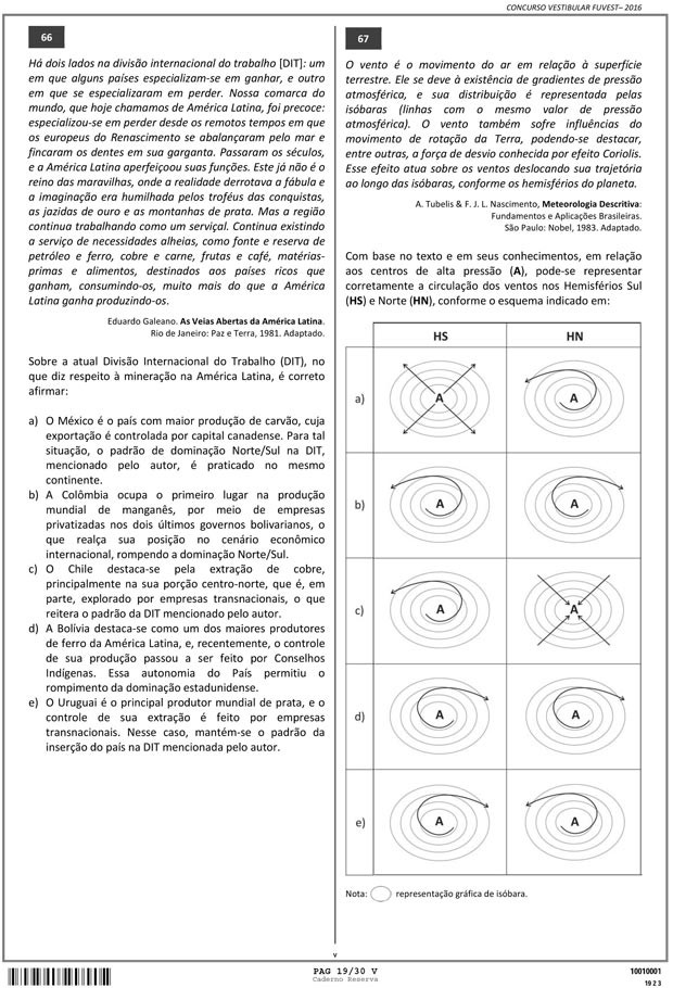 Fuvest - Caderno de Prova - 19 (Foto: Reprodução/Fuvest)