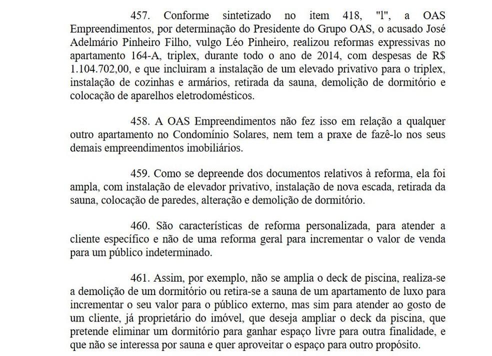 Trecho em que Moro expõe as reformas específicas no triplex (Foto: Reprodução)