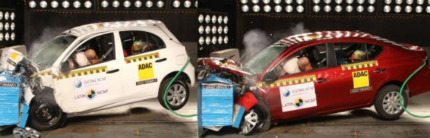 Teste do Latin NCAP com Nissan March e Versa (Foto: Divulgação)
