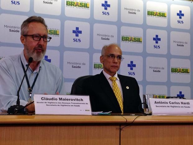 Cláudio Maierovitch e Antônio Nardi, do Ministério da Saúde (Foto: Gabriel Luiz/G1)