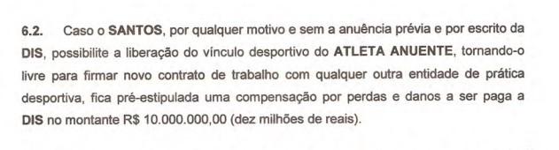 Contrato DIS Neymar (Foto: Reprodução)