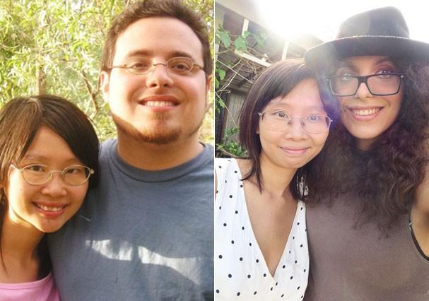Antes e depois de Andrea (Foto: Arquivo Pessoal)