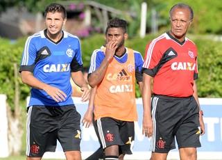 Mugni, Muralha e Jayme de Almeida treino Flamengo (Foto: Alexandre Vidal/Fla Imagem)