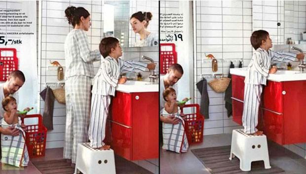 Ikea retirou as imagens de mulheres da versão de seu catálogo para a Arábia Saudita. (Foto: Reprodução)