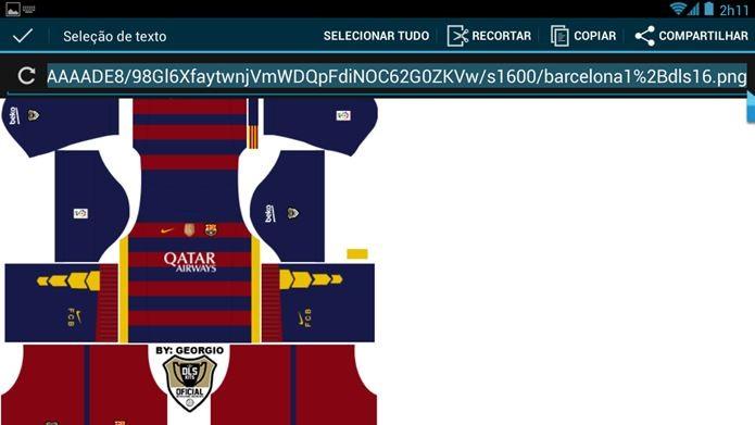 d39cfe109ed Abra a imagem do kit em uma janela separada e toque em copiar URL (Foto Dream  League Soccer ...