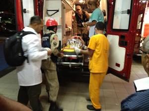 Mãe do menino foi atendida no Hospital de Trauma de João Pessoa (Foto: Walter Paparazzo/G1)