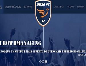 Home do site oficial do Doze Futebol Clube (Foto: Reprodução)