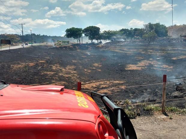 Carro dos bombeiros em frente a área queimada pelas chamas neste domingo (16) (Foto: Corpo de Bombeiros-DF/Divulgação)