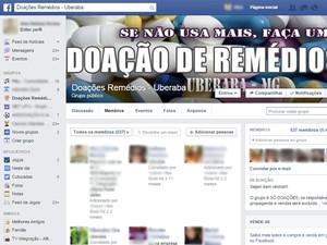 Doações medicamentos Uberaba grupo Facebook (Foto: Reprodução/ Facebook)