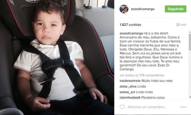 Zezé di Camargo deseja parabéns ao neto, João Francisco (Foto: Reprodução / Instagram)