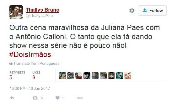 Juliana Paes bomba na web após cena de Dois Irmãos (Foto: Twitter / Reprodução)