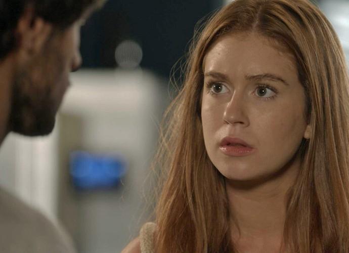 Eliza fica decepcionada com toco em cima da hora (Foto: TV Globo)
