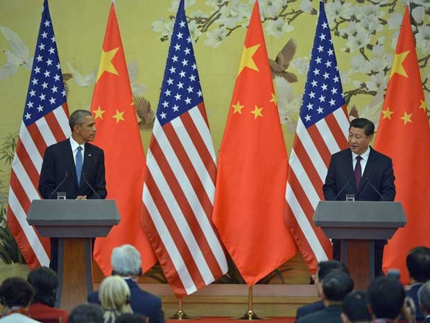 Presidentes dos EUA, Barack Obama, e da China, Xi Jinping, em Pequim. (Foto: Mandel Ngan / AFP Photo)