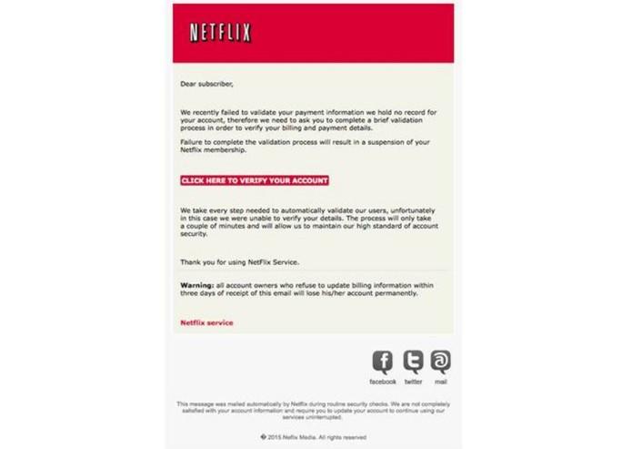 Golpistas enviam e-mail falsos para roubar dados dos clientes da Netflix (Foto: Divulgação/AVG)