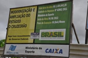 Estádio Municipal O Cruzeirão, em Cruzeiro do Sul (AC) (Foto: Vanisia Nery/G1)