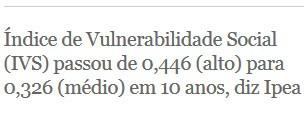 Índice de Vulnerabilidade Social (IVS) passou de 0,446 (alto) para 0,326 (médio) em 10 anos, diz Ipea (Foto: G1)