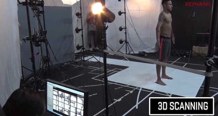 O novo vídeo de PES 2016 mostra Neymar no processo de captura do corpo para o jogo (Foto: Reprodução/YouTube)