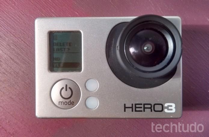 Pergunta de confirmação da GoPro para apagar última foto ou vídeo (Foto: Reprodução/Raquel Freire)