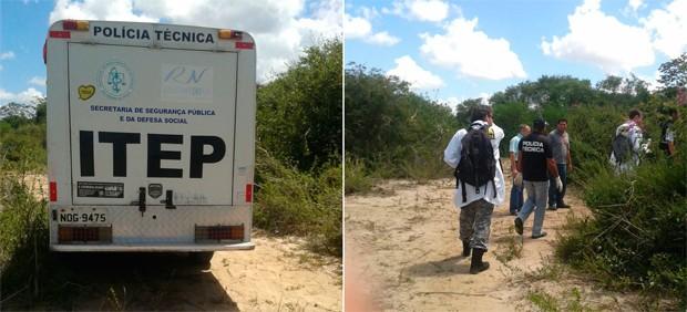 Restos mortais foram encontrados em um matagal localizado entre as comunidades do Pé do Galo e Lamarão (Foto: Normando Feitosa/G1)