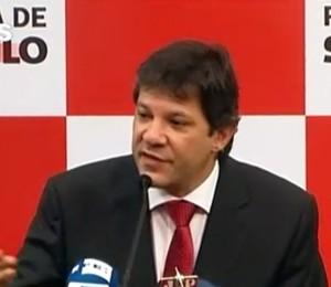 Coletiva com Fernando Haddad, prefeito de São Paulo, sobre o sexto dia de protestos (Foto: Reprodução/GloboNews)