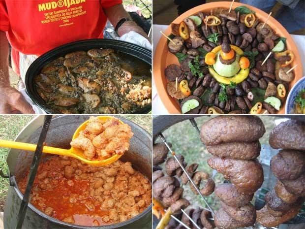 Algumas das especialidades servidas no Ball Cup, campeonato mundial de gastronomia com testículos (Foto: Reprodução)