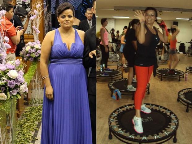 Idalia viu foto de quando foi madrinha em um casamento e decidiu que era hora de perder peso; imagem seguinte mostra a baiana na aula de jump (Foto: Arquivo pessoal)
