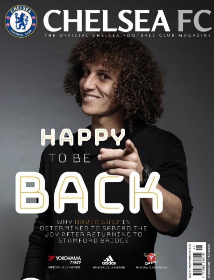 """BLOG: David Luiz é capa de revista do Chelsea e se declara: """"Senti muita saudade"""""""