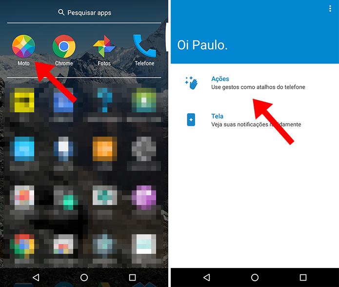 Acesse as ações do app Moto (Foto: Reprodução/Paulo Alves)