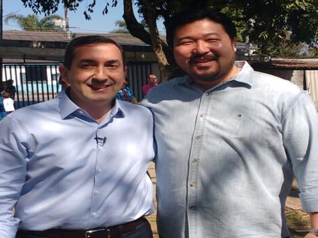 Melo foi lançado candidato a prefeito de Mogi das Cruzes, tendo Abe como vice, neste sábado (30) (Foto: Cristina Requena/G1)