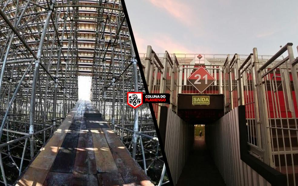 Entrada de torcedores na comparação das duas fotos (Foto: Coluna do Flamengo)